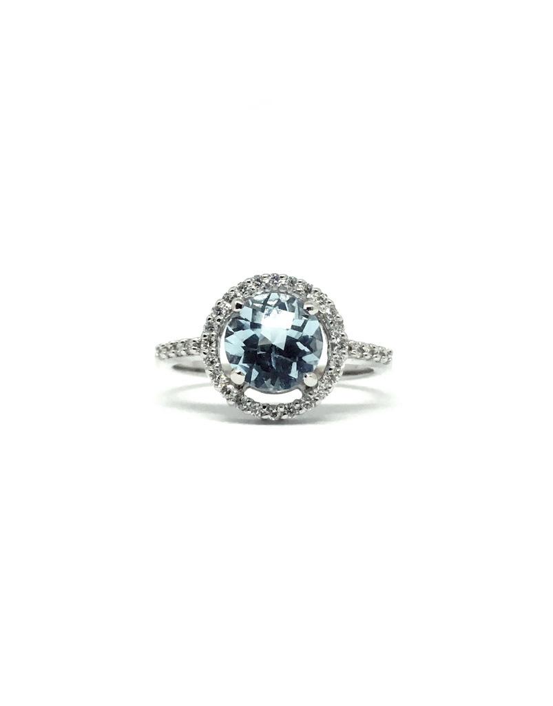 208aa25ea42a Anillo Oro blanco Diamantes y Topacio Light blue